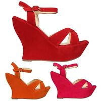 WOMENS LADIES HIGH HEEL ANKLE STRAP  PLATFORM PEEP TOE SHOES SIZE 3-8