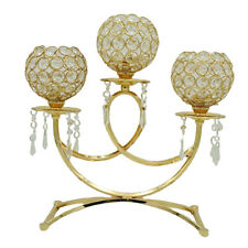 Gold Rhinestones Mosaic Candle Holder Candlestick Stand Decorative Home Wedding