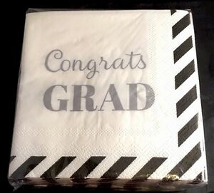 Graduation Day 40 Paper Napkins White w/  'Congrats GRAD' w/ black trim - NIP