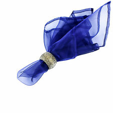6 NAVY BLUE ORGANZA DINNER NAPKINS, 100's Available
