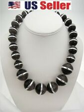 COLDWATER CREEK BEAD NECKLACE BLACK GREY SILVER TONE BEADS WITH EXTENDER  MULTI
