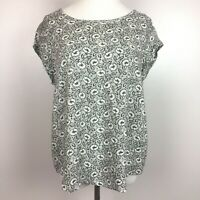 Anne Carson Top L Floral Printed Keyhole Cap Sleeve Blouse Black Womens Large