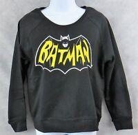 Batman Juniors Womens Fleece Sweatshirt New Black DC Comics Officially Licensed