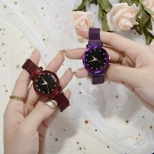 Women Ladies Starry Sky Masonry Watch Magnet Strap Buckle Stainless Watch Gift