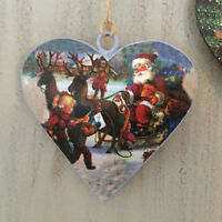 Christmas Heart Decoration Vintage Inspired Father Christmas Tree Santa Sleigh