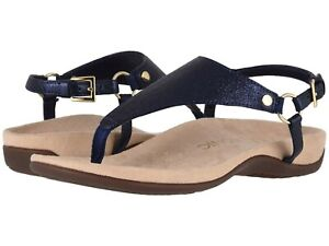 Vionic Orthaheel REST KIRRA Leather T Strap Sandals NAVY METALLIC 6.5 Wide NIB