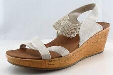 Skechers Ankle Strap White Fabric Women Shoes Size 8 Medium (B, M)