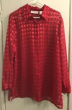 01853c5700e DressBarn Women s Size 2X Long Sleeve Blouse. Red Sheer with Shiney  Rectangles