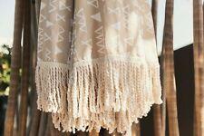 Beach Umbrella 2m Sun Shade Vintage Tilt Cotton Tassel Wood Pole UPF 50+ Nude