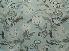 Thibaut Curtain Fabric NAVESINK 1.1m Aqua Floral Linen Mix Design 110cm