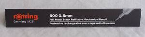 Rotring 600 Pencil Black Knurled Grip 0.5 mm Pencil Red Letters New In Box