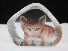Mats Jonasson Maleras Signed Crystal Ginger Coloured Tabby Cat Paperweight 3868