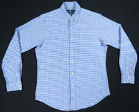Ralph Lauren Polo Blue White Gingham Check Pink Polo Pony Long Sleeve Shirt M