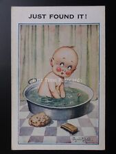 "Donald McGill Baby in Bath Tub - ""JUST FOUND IT!"""