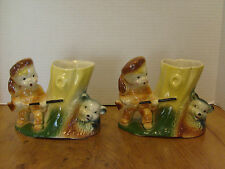 "2 American Bisque Davy Crockett Daniel Boone & BEAR Planter, Pair . 5"" Tall"