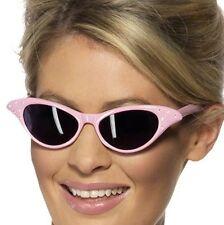 MUJER AÑOS 50 Rosa Gafas De Sol Rock n Roll Elegante Vestido Smiffys NUEVO