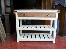 Solid Pine, Rustic Kitchen Island. Drawer and Shelf. Butchers Block Style