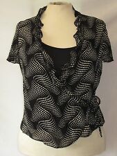 M&CO Opus Black Cream 2 Piece Set Cami & Wraparound Short Sleeved Top size 14