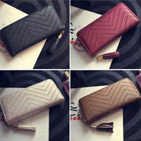 Women Ladies Leather Wallet Long Zip Purse Card Holder Case Clutch Phone Handbag