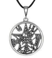 Sterling Silver Tetragrammaton Pentagram Pagan Wiccan Pendant 40mm | Made in USA
