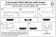 Ace Models 1/72 T-34 Model 1941 550mm WIDE TANK TRACKS Photo Etch Set