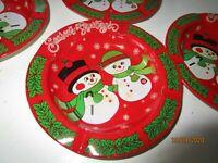 Vintage Red & Green Snowmen Tin Metal Christmas Ashtrays set of 4