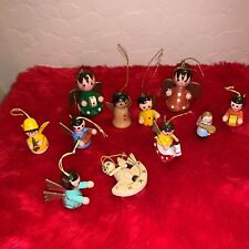Lot of 11 Vintage Wooden Handpainted Christmas Tree Ornaments Angels