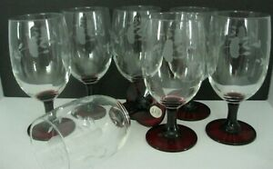 Princess House Heritage Ruby Red Etched Wine Water Glasses Goblets Set of 7