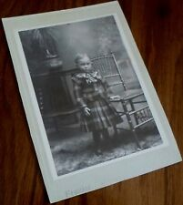 VINTAGE CABINET PHOTO, YOUNG BOY IN PLAID DRESS WITH BOW