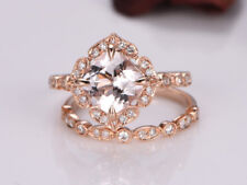 2Ct Cushion Pink Morganite Simulant Diamond Engagement Ring Set Silver Rose Fnsh