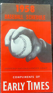 1958 BASEBALL SCHEDULE GOOD CONDITION FROM EARLY TIMES AMERICAN NATIONAL