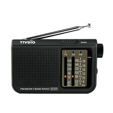 TIVDIO FM / AM / SW V-117 3 Band Portable Radio Battery Powered Emergency Radio