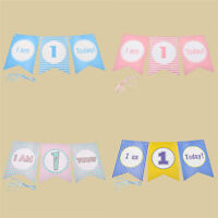 I Am 1 Today Paper Banners First Birthday Boy Girl Party Decor Hanging Supplies