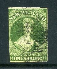 New Zealand 1862 1/- Chalon wmk star imperf SG 44 used CV £325