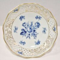 ANTIQUE SCHUMANN DRESDEN FLOWERS BLUE AND WHITE PORCELAIN RETICULATED BOWL NICE