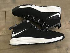 Black and White Nike Lunarlon Size 9.5 Lax Turf Shoe Lacrosse BRAND NEW no box