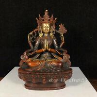 "6.4"" China antique Pure copper Gilding gold Four arm Guanyin Buddha statue"