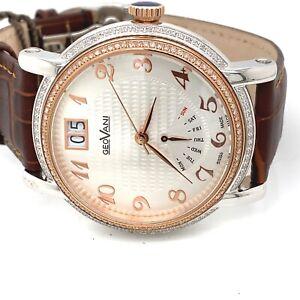 Geovani mens 0.88 ct diamond watch big 45mm case rrp £1780