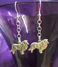 More details for handmade rough collie,lassie sheltie sheepdog earrings sterling silver 925 stamp