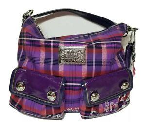 COACH F1026-16120 Genuine Poppy Tartan Purple Berry Plaid Handbag With Charms