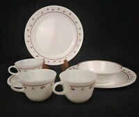 Serving for 3 Corelle Corning BURGUNDY ROSE Dinner Plate w/ Cup Saucer + 1 bowl