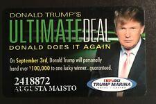 Vintage Donald Trump Player Slot Card -Trump Picture Trump Marina Casino