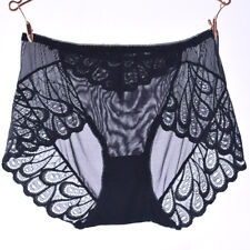 Lady Briefs Sheer Lace Floral Knickers High Waist Panties See through Sexy Black