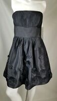 Bill Levkoff dress size 8 short black embroidered flowers back zip NWT strapless