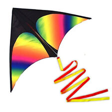 """Huge Rainbow Delta Kites for Kids and Adults-60"""" Wide with 9.5' Long Tail US"""