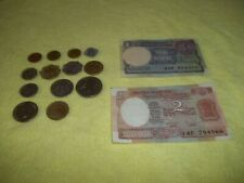 Set of 13 Post Independence India coins & 1 & 2 Rupee notes