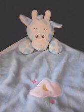 Blue Giraffe Baby Lovey Satin Blanky Moon Cloud Stars