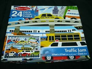 Melissa & Doug 24 pc TRAFFIC JAM Floor PUZZLE 3' x 2' TRUCKS bus VEHICLES Age 3+