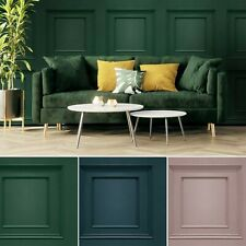 3D Wood Panel Panelling Coving Trendy Modern Pink Grey Navy Cream Wallpaper Room