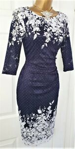 Phase Eight Blue White Floral Dress Evening Wedding Party Cocktail Dress 8 £160